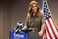 FILE — In this July 9, 2021 file photo Caitlyn Jenner, a Republican candidate for California governor, speaks during a news conference in Sacramento, Calif. Californians will start receiving ballots next month asking if Gov. Gavin Newsom, a Democrat should be recalled and if so, who they want to vote to replace him, Jenner is one of several high-profile Republicans, who are running to replace Newsom. The CAGOP's executive committee will meet Saturday July 24, 2021 and decide whether to let an endorsement move forward. (AP Photo/Noah Berger, File)