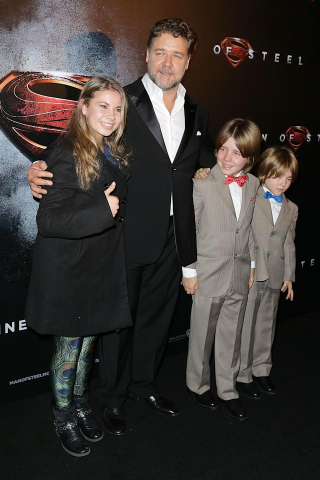 "SYDNEY, AUSTRALIA - JUNE 24: Bindi Irwin, Russell Crowe, Tennyson Crowe and Charles Crowe arrive at the ""Man Of Steel"" Australian premiere on June 24, 2013 in Sydney, Australia. (Photo by Brendon Thorne/Getty Images)"