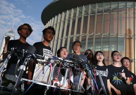 Members of Civil Human Rights Front hold a news conference in response to the announcement by Hong Kong Chief Executive Carrie Lam regarding the proposed extradition bill, outside the Legislative Council building in Hong Kong