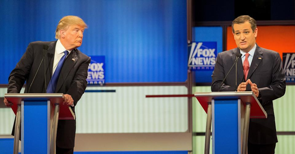 Donald Trump and Ted Cruz at a Republican presidential debate in March 2016.Many have wondered how Cruz could support Trump after the attacks Trump made on his family. (Photo: GEOFF ROBINS via Getty Images)