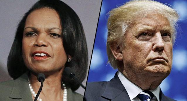 Former Secretary of State Condoleezza Rice and President Donald Trump (Photos: Ben Margot/AP, Drew Angerer/Getty Images)
