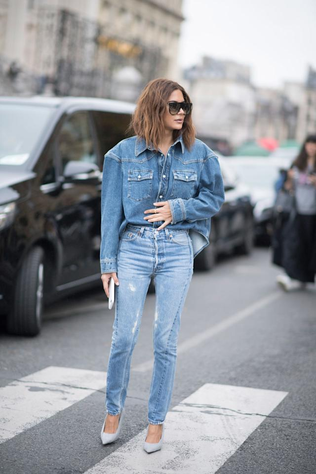 <p>Double denim is no longer a fashion faux-pas, but we'd recommend pairing slightly different shades together to avoid looking too matchy-matchy.</p>