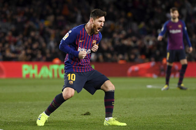"<a class=""link rapid-noclick-resp"" href=""/soccer/players/372884/"" data-ylk=""slk:Lionel Messi"">Lionel Messi</a> singlehandedly ensured <a class=""link rapid-noclick-resp"" href=""/soccer/teams/barcelona/"" data-ylk=""slk:Barcelona"">Barcelona</a> didn't lose to Valencia on Saturday. (Getty)"