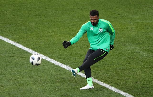 Soccer Football - World Cup - Group A - Uruguay vs Saudi Arabia - Rostov Arena, Rostov-on-Don, Russia - June 20, 2018 Saudi Arabia's Mohammed Al-Owais during the warm up before the match REUTERS/Marcos Brindicci