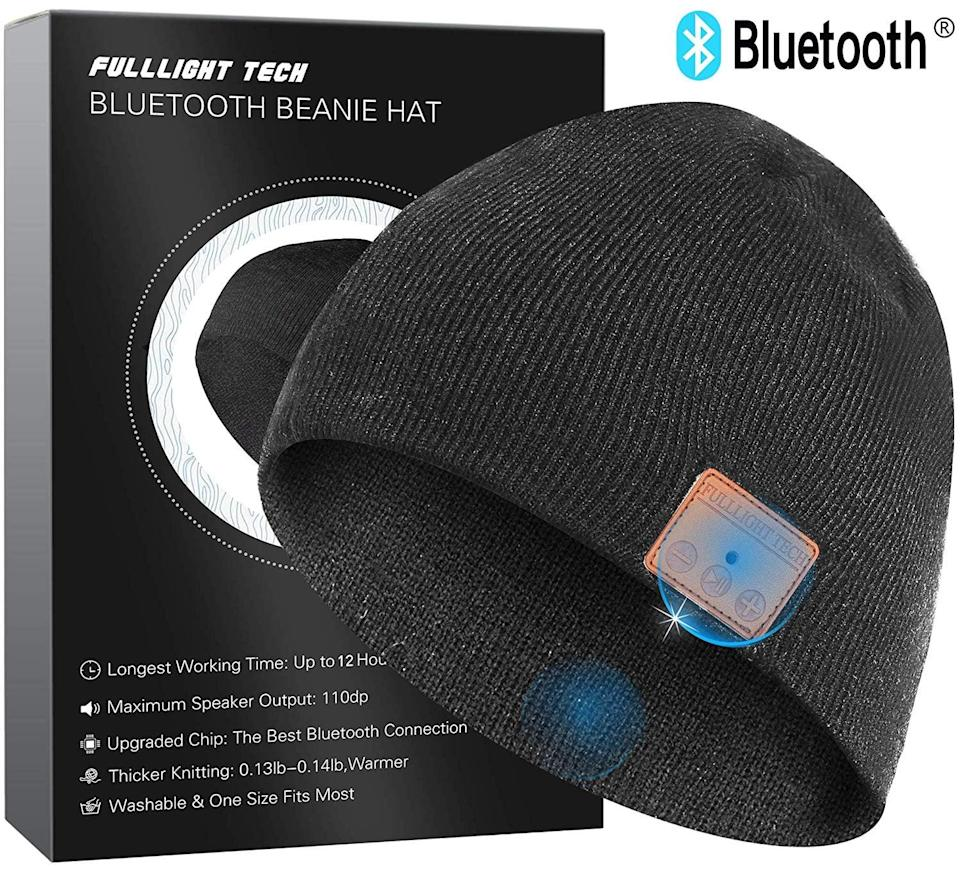 <p>He can stay warm and rock out in the <span>Upgraded Bluetooth Beanie Hat</span> ($23). It's a wireless headphone headset that can play music for hours on end!</p>