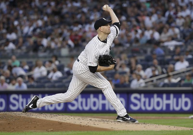 New York Yankees' James Paxton pitches during the third inning of the team's baseball game against the Boston Red Sox Friday, Aug. 2, 2019, in New York. The Yankees won 4-2. (AP Photo/Frank Franklin II)