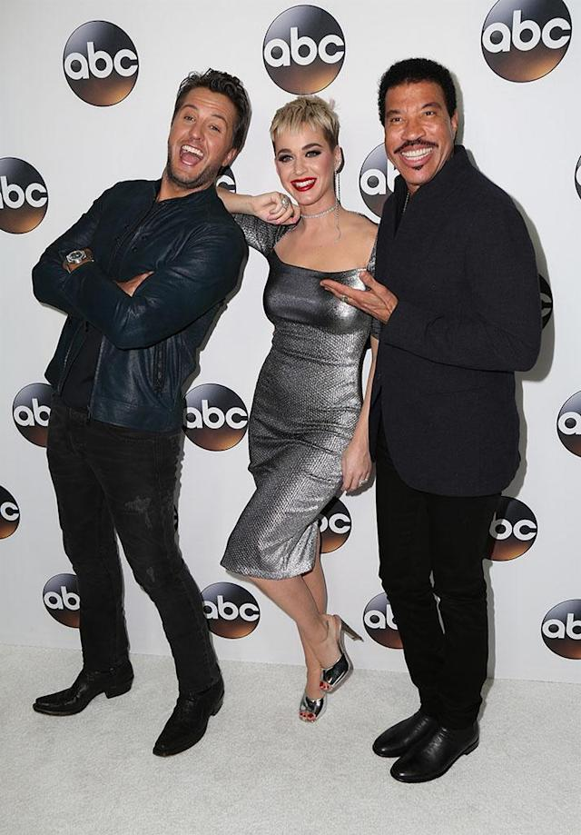 <p>The new<em> American Idol </em>judges were warming up for the March premiere as they hung out at the TCA Winter Press Tour in Pasadena, Calif., on Monday. (Photo: MediaPunch/BackGrid) </p>