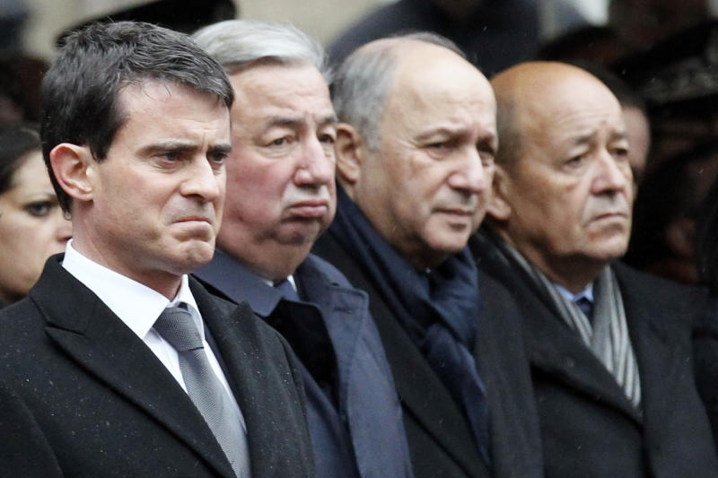 French Prime Minister Manuel Valls (L) on January 13, 2015 in Paris (AFP Photo/Francois Mori)