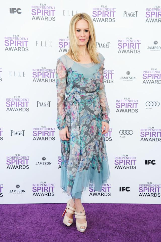 SANTA MONICA, CA - FEBRUARY 25:  Actress Sarah Paulson arrives at the 2012 Film Independent Spirit Awards on February 25, 2012 in Santa Monica, California.  (Photo by Alberto E. Rodriguez/Getty Images)