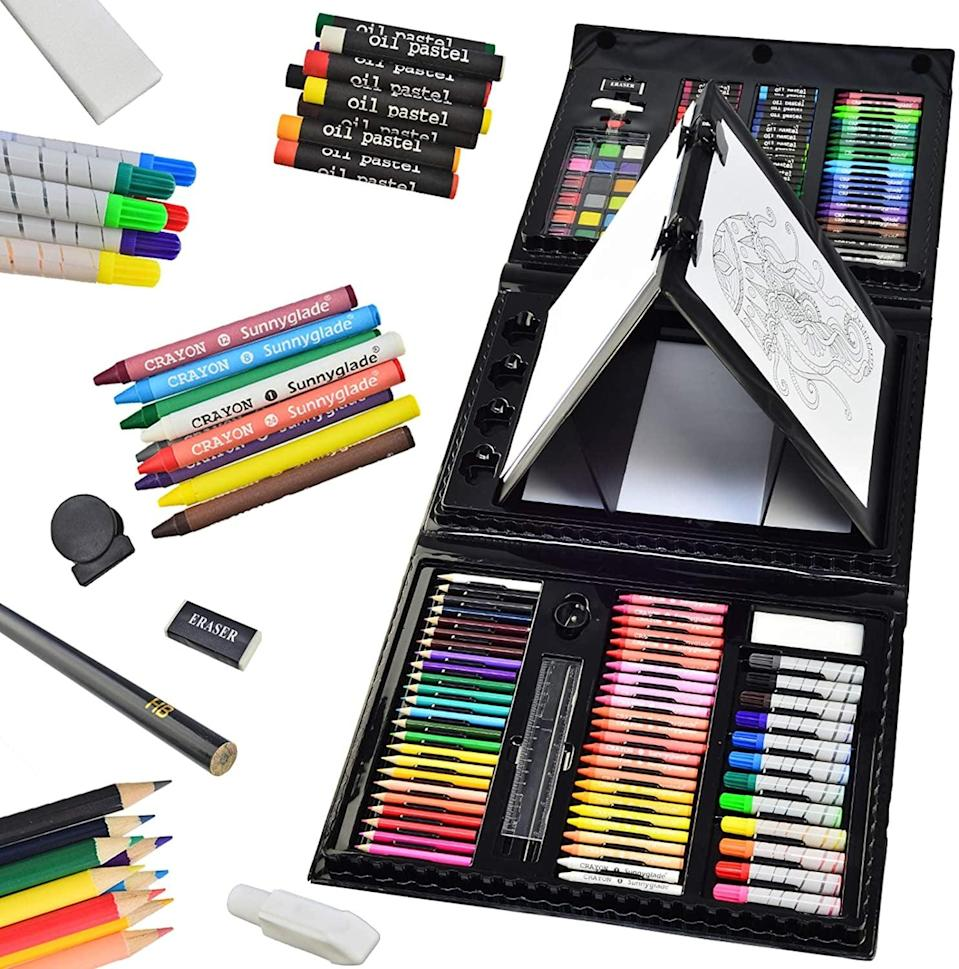 <p>If you're someone who can't decide between markers or colored pencils (ahem, me), go with this mega <span>Sunnyglade 185 Pieces Double Sided Trifold Easel Art Set</span> ($30, originally $33).</p>