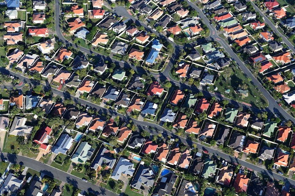 Aerial view of residential housing. (AAP Image/Dave Hunt)
