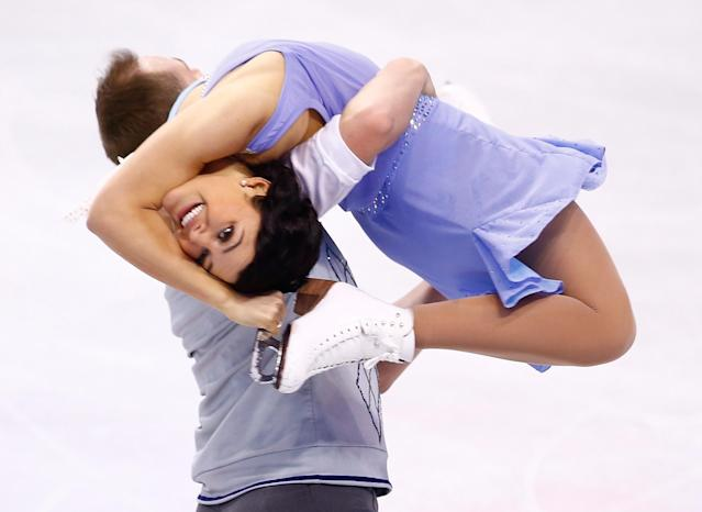 BOSTON, MA - JANUARY 10: Kristen Nardozzi and Nick Traxler skate in the short dance program during the 2014 Prudential U.S. Figure Skating Championships at TD Garden on January 10, 2014 in Boston, Massachusetts. (Photo by Jared Wickerham/Getty Images)