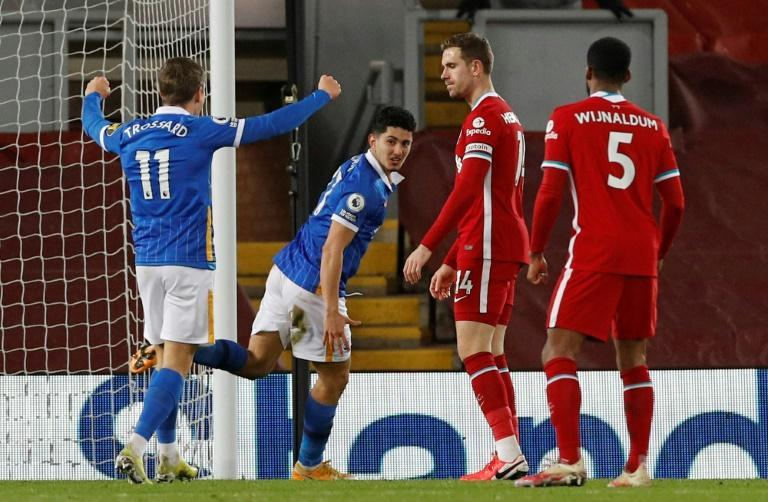 Brighton's Steven Alzate (2L) celebrates scoring at Liverpool