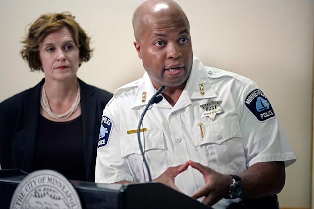 <p>Assistant Police Chief Medaria Arradondo and Mayor Betsy Hodges address the latest developments in the death of Justine Damond, Tuesday, July 18, 2017, in Minneapolis, Minn. (Photo: Richard Tsong-Taatarii/Star Tribune via AP) </p>
