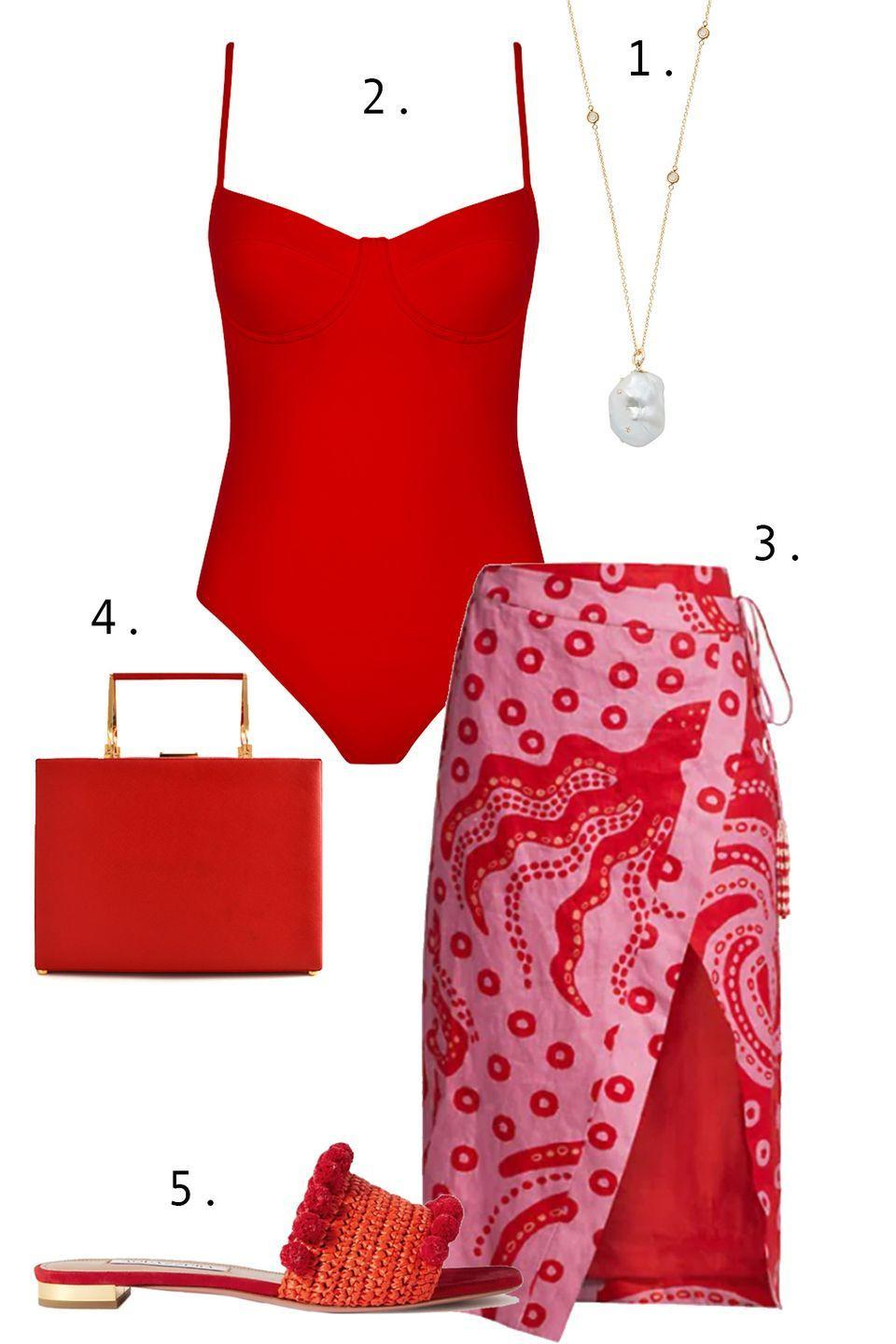 """<p>Turn heads in red. To keep yourself from looking like a color clash, add a skirt or coverup that has the hue as <em>part</em> of the color palette, and then echo your primary color of choice in the structured bag and easy slides. Finish things off with a delicate pearl necklace. </p><ol><li><a href=""""https://go.skimresources.com?id=74968X1525087&xs=1&url=https%3A%2F%2Fwww.matchesfashion.com%2Fus%2Fproducts%2FBibi-Van-Der-Velden-Diamond%252C-baroque-pearl-%2526-18kt-gold-necklace-1307814"""" rel=""""nofollow noopener"""" target=""""_blank"""" data-ylk=""""slk:Bibi Van Der Velden necklace"""" class=""""link rapid-noclick-resp"""">Bibi Van Der Velden necklace</a> 2. <a href=""""https://go.skimresources.com?id=74968X1525087&xs=1&url=https%3A%2F%2Fernestleoty.com%2Fcollections%2Fswimwear%2Fproducts%2Fanais-swimsuit-scarlet"""" rel=""""nofollow noopener"""" target=""""_blank"""" data-ylk=""""slk:Ernest Leoty swim"""" class=""""link rapid-noclick-resp"""">Ernest Leoty swim</a> 3. <a href=""""https://go.skimresources.com?id=74968X1525087&xs=1&url=https%3A%2F%2Fwww.saksfifthavenue.com%2Fproduct%2Ffarm-rio-octocool-wrap-skirt-0400014489990.html%3Fdwvar_0400014489990_color%3DLIGHT%2520PINK"""" rel=""""nofollow noopener"""" target=""""_blank"""" data-ylk=""""slk:Farm Rio skirt"""" class=""""link rapid-noclick-resp"""">Farm Rio skirt</a> 4. <a href=""""https://maison-de-mode.com/products/charlotte-red-leather-bag"""" rel=""""nofollow noopener"""" target=""""_blank"""" data-ylk=""""slk:PRIM by Michelle Elie bag"""" class=""""link rapid-noclick-resp"""">PRIM by Michelle Elie bag</a> 5. <a href=""""https://go.skimresources.com?id=74968X1525087&xs=1&url=https%3A%2F%2Fwww.net-a-porter.com%2Fen-us%2Fshop%2Fproduct%2Faquazzura%2Fshoes%2Fflat%2Fpompom-embellished-woven-raffia-slides%2F2204324138602838"""" rel=""""nofollow noopener"""" target=""""_blank"""" data-ylk=""""slk:Aquazzura sandals"""" class=""""link rapid-noclick-resp"""">Aquazzura sandals</a></li></ol>"""