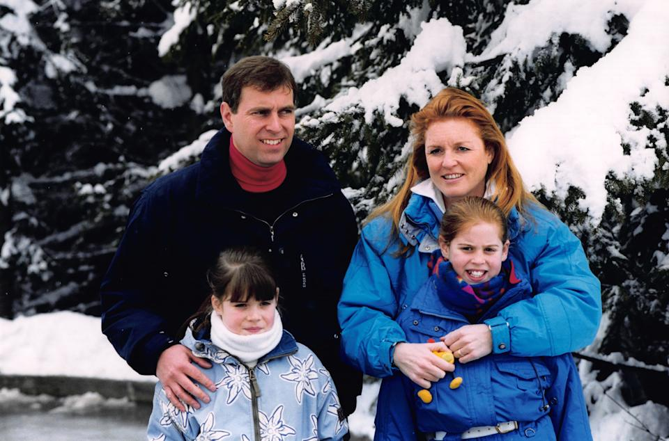 Prince Andrew and Sarah Ferguson, Duchess of York with their daughters Princess Eugenie and Princess Beatrice on holiday in Verbier, Switzerland on 20 February 1999