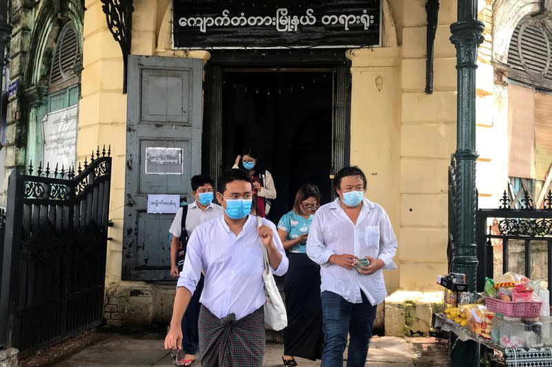 Youth activist Maung Saung Kha leaves at a court in Yangon