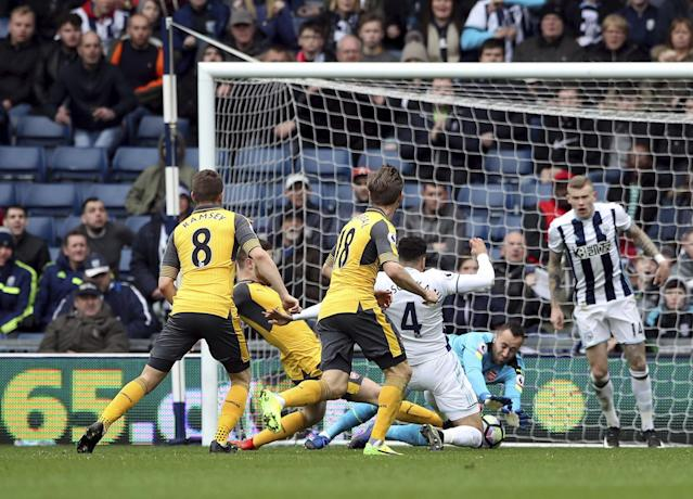 <p>West Bromwich Albion's Hal Robson-Kanu scores his side's second goal of the game </p>