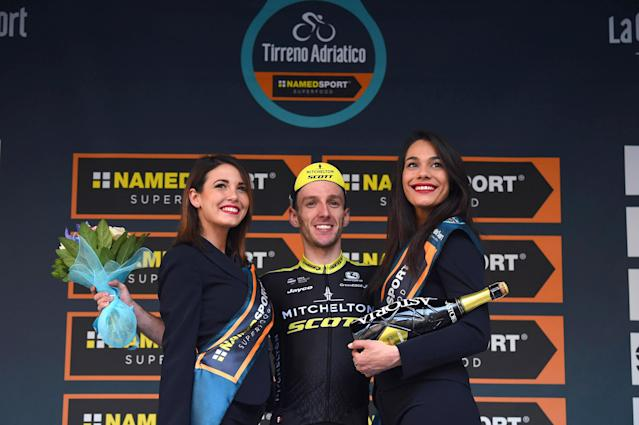 Britain's Adam Yates celebrates on the podium after winning the 5th stage of the Tirreno-Adriatico cycling race, from Castelraimondo to Filottrano, Italy, Sunday, March 11, 2018. (Dario Belingheri/ANSA via AP)
