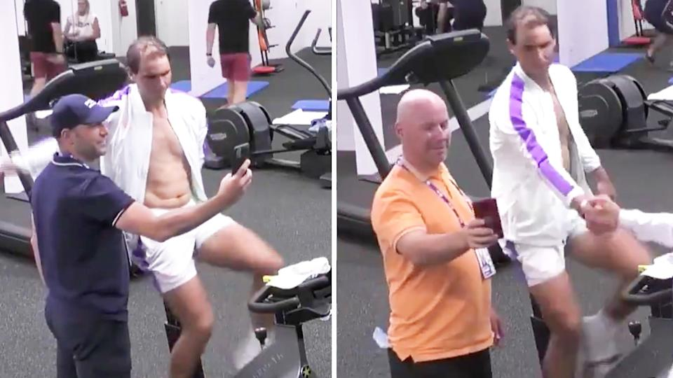 Rafael Nadal (pictured right) working out on the bike while taking selfies with fans at the Australian Open.