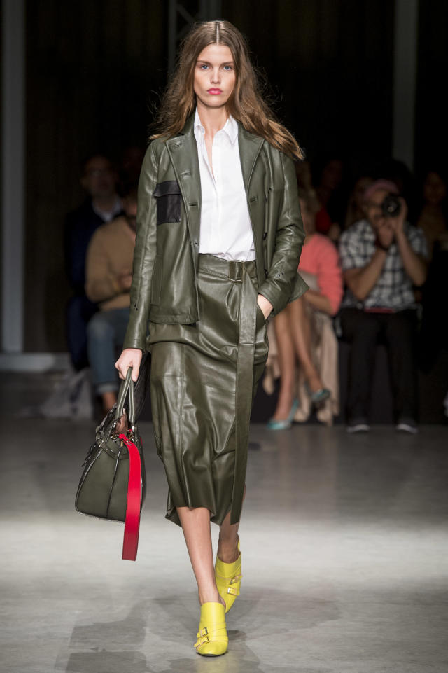 <p><i>This model wore a hunter-green leather jacket and matching skirt from the SS18 Trussardi collection. (Photo: ImaxTree) </i></p>