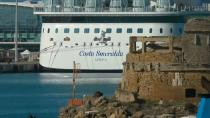 The Costa Smeralda cruise ship is docked at the Italian port of Civitavecchia