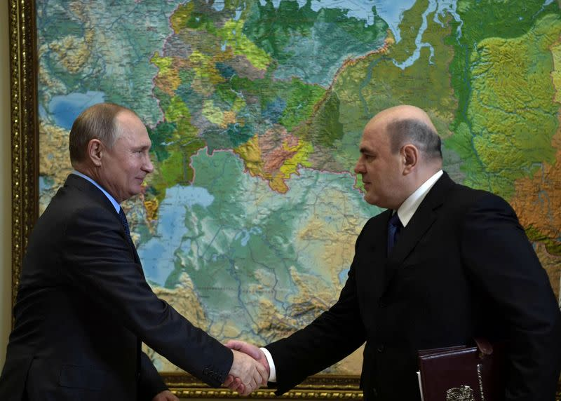 Russian President Putin attends a meeting with head of the Federal Taxation Service Mishustin in Sochi