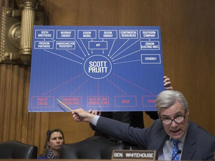 Senate Environment and Public Works Committee member Sen. Sheldon Whitehouse, D-R.I., points to a chart as he questions Environmental Protection Agency Administrator-designate, Oklahoma Attorney General Scott Pruitt, on Capitol Hill in Washington, Wednesday, Jan. 18, 2017, during Pruitt's confirmation hearing before the committee. (Photo: J. Scott Applewhite/AP)