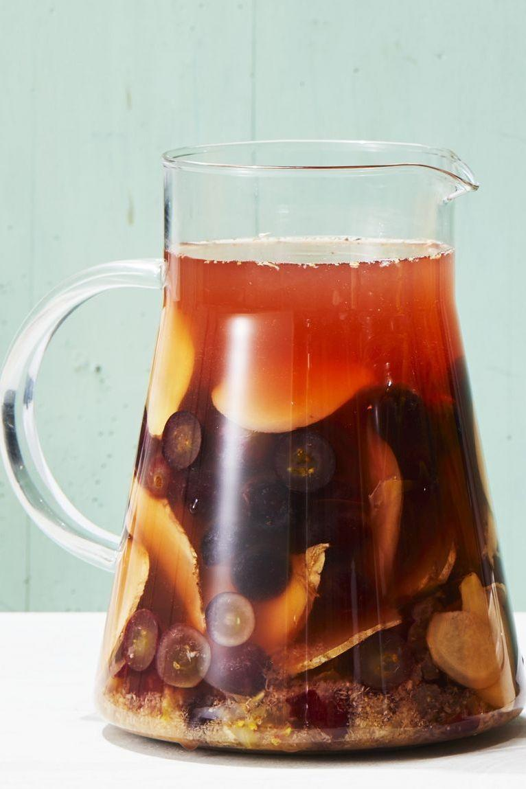 """<p>Get inspired by the fantastic colors of fall with this sangria. Ginger-grape is a heart-warming combination that has us ready for the harvest season.<br><br><em><a href=""""https://www.goodhousekeeping.com/food-recipes/party-ideas/a27529168/ginger-grape-sangria-recipe/"""" rel=""""nofollow noopener"""" target=""""_blank"""" data-ylk=""""slk:Get the recipe for Ginger-Grape Sangria »"""" class=""""link rapid-noclick-resp"""">Get the recipe for Ginger-Grape Sangria »</a></em><br></p>"""