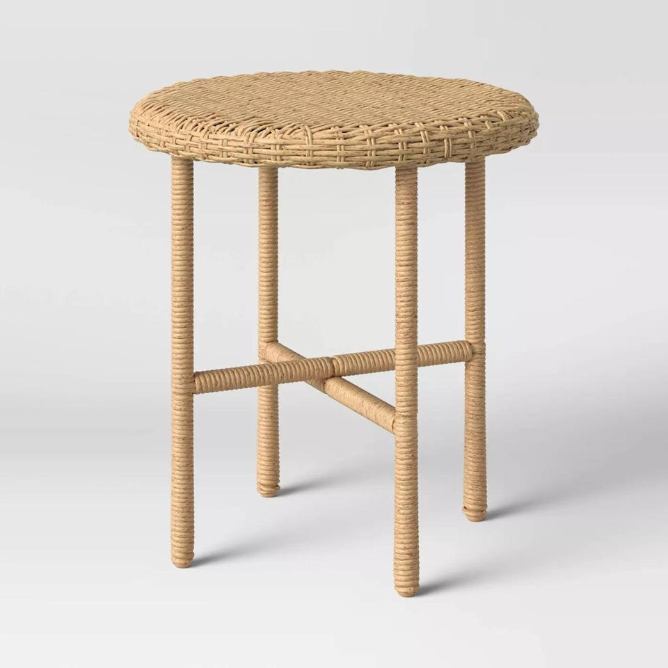 <p>Need a side table? The <span>Tucker Wicker Patio Accent Table</span> ($80) will blend in with your space effortlessly.</p>