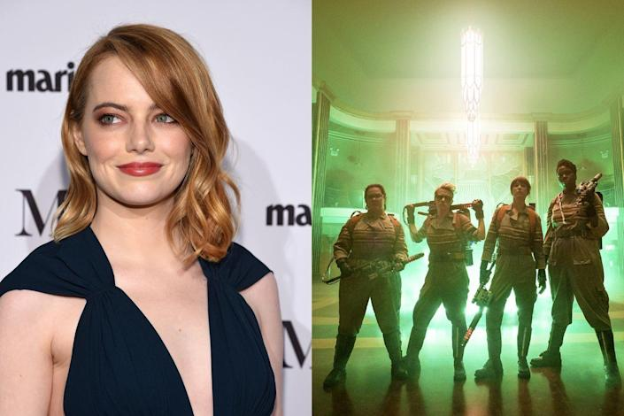 """<p>When it was announced that Paul Feig would be directing an all-female version of <em>G</em><em>hostbusters</em>, the internet was flooded with articles dreaming up the perfect cast. Even original star Bill Murray <a href=""""https://www.thestar.com/entertainment/tiff/2014/09/07/tiff_bill_murray_scares_up_female_ghostbusters_cast_suggestions.html"""" rel=""""nofollow noopener"""" target=""""_blank"""" data-ylk=""""slk:voiced his"""" class=""""link rapid-noclick-resp"""">voiced his</a> picks, a list that included Stone. Feig apparently agreed, as Stone later revealed she'd turned down a role in the movie after starring in<em> The Amazing Spider-Man</em> films. """"The script was really funny,"""" she <a href=""""https://www.wsj.com/articles/emma-stone-talks-irrational-man-the-sony-hack-and-keeping-her-personal-life-private-1434547660?tesla=y"""" rel=""""nofollow noopener"""" target=""""_blank"""" data-ylk=""""slk:told the Wall Street Journal"""" class=""""link rapid-noclick-resp"""">told the <em>Wall Street Journal</em></a>. """"It just didn't feel like the right time for me. A franchise is a big commitment—it's a whole thing. I think maybe I need a minute before I dive back into that water."""" Melissa McCarthy, Kristen Wiig, Leslie Jones, and Kate McKinnon ended up as the flick's leading ladies instead.</p>"""