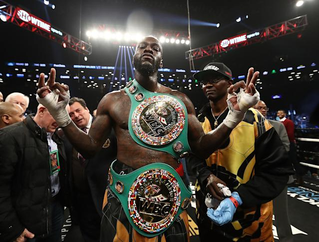 Deontay Wilder said he accepted a below-market offer to fight Anthony Joshua, but isn't convinced the fight will happen. (Getty Images)