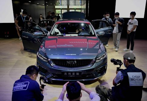 The Geely Preface sedan making an appearance at the Beijing Auto Show on September 26, 2020. Photo: Agence France-Presse
