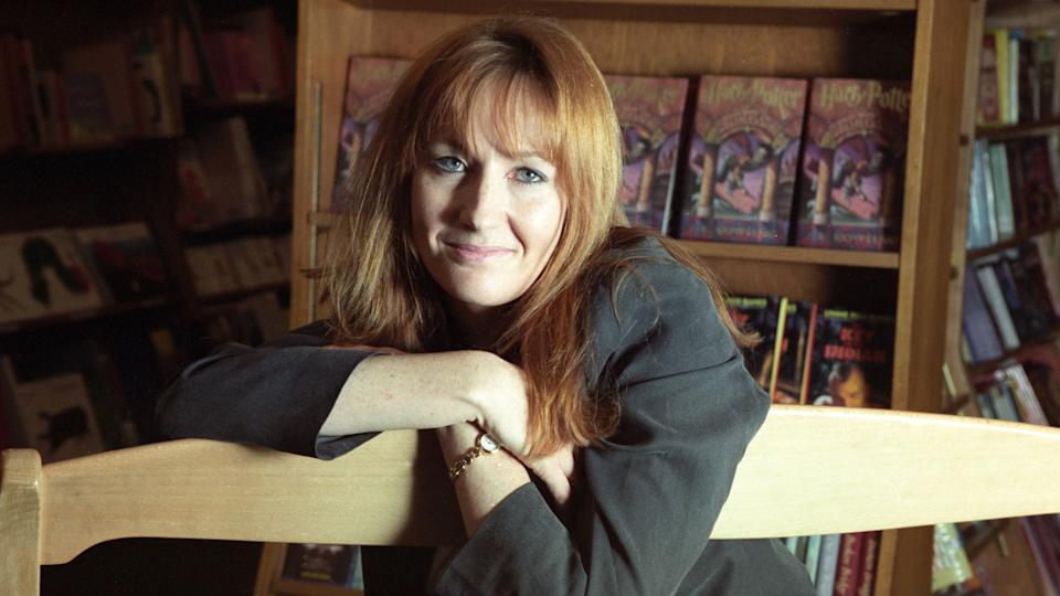 Joanne Rowling poses in a New York bookstore
