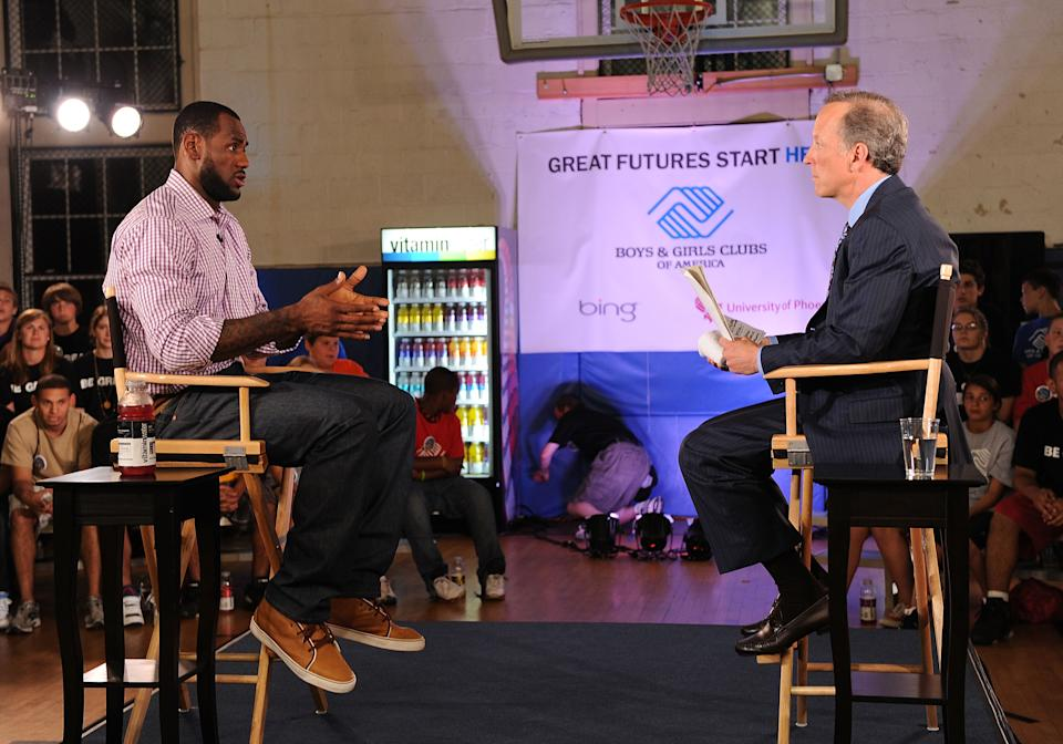 GREENWICH, CT - JULY 08:  LeBron James and ESPN's Jim Gray speak at the LeBron James announcement of his future NBA plans at the  Boys & Girls Club of America on July 8, 2010 in Greenwich, Connecticut.  (Photo by Larry Busacca/Getty Images for Estabrook Group)