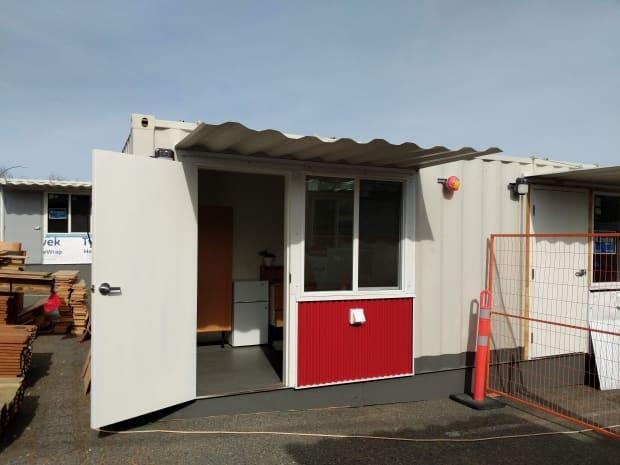 Shipping container tiny-homes in Victoria will look like this one, staged for a media tour in late April.