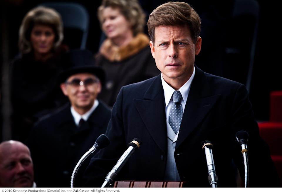 John F. Kennedy, played by Greg Kinnear, is inaugurated as president in this scene from