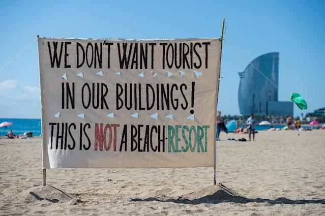 No escape: In Barcelona, protesters have hit the beaches to make their message heard (AFP Photo/Josep LAGO)