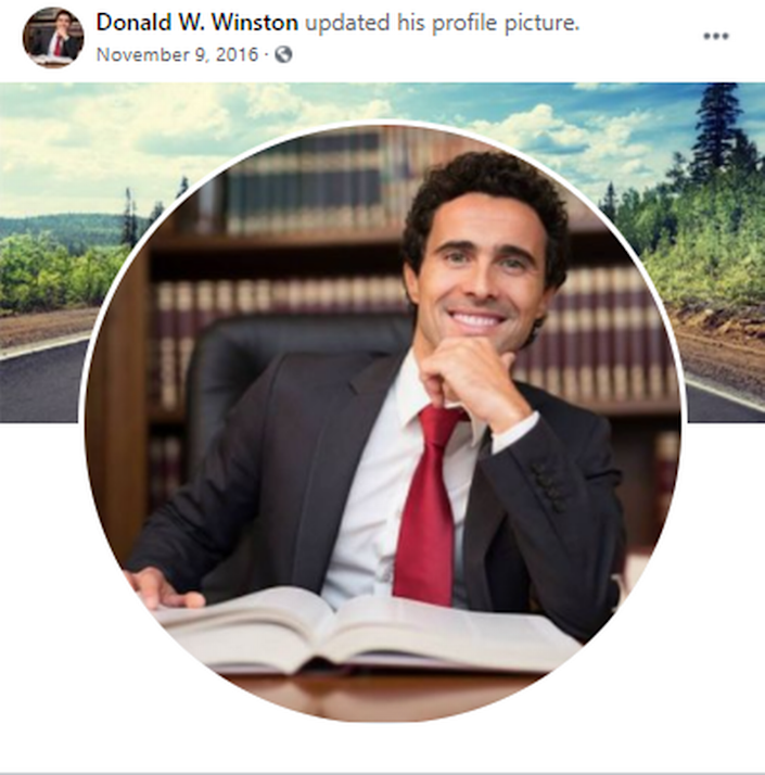 The profile picture for the Facebook account of a user named Donald W. Winston uses a stock image of a smiling lawyer.