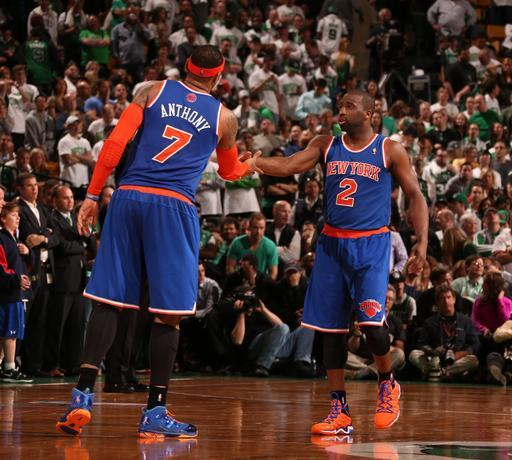 BOSTON, MA - MAY 3: Raymond Felton #2 of the New York Knicks celebrates with Carmelo Anthony #7 in Game Six of the Eastern Conference Quarterfinals against the Boston Celtics during the 2013 NBA Playoffs on MAY 3, 2013 at the TD Garden in Boston. (Photo by Nathaniel S. Butler/NBAE via Getty Images)