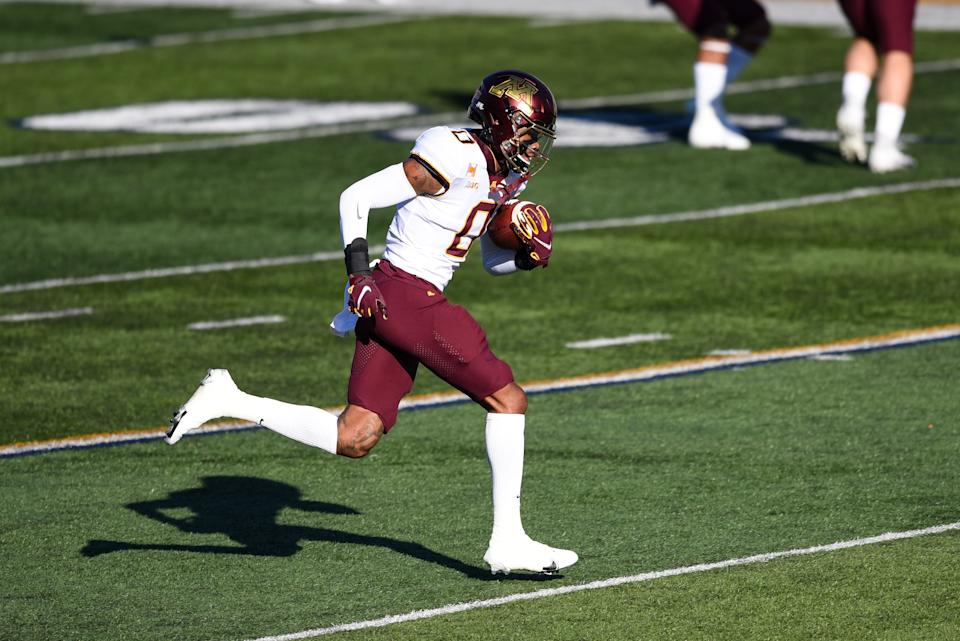 Minnesota WR Rashod Bateman can do damage after the catch. (Photo by James Black/Icon Sportswire via Getty Images)