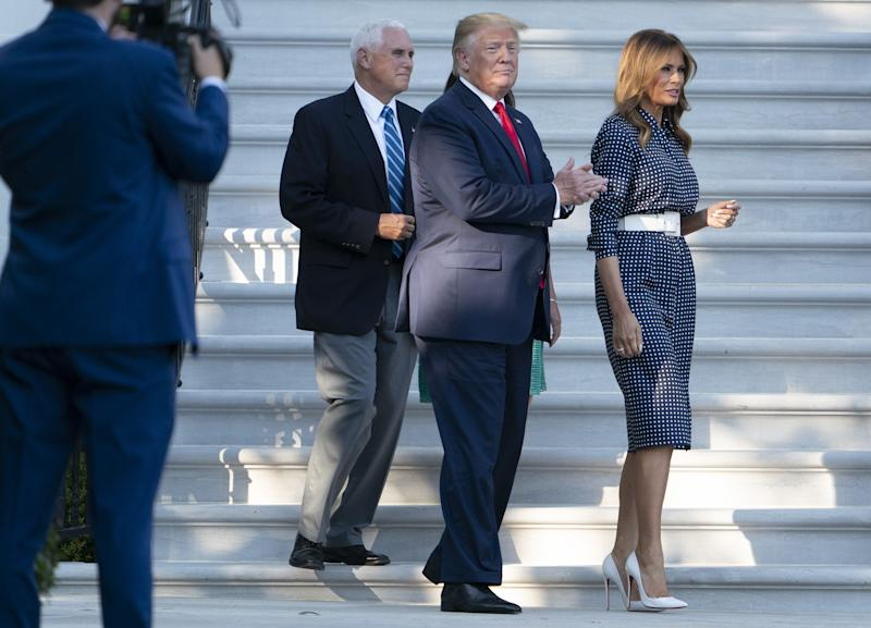 Melania Trump attended the Congressional Picnic at the White House wearing classic navy and polka dots. (Photo: Getty Images)