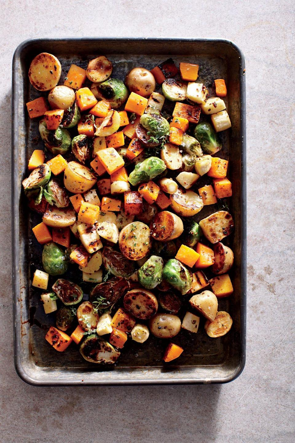 """<p>A mix of colorful root vegetables may be your star side. Peeled, pre-chopped <a href=""""https://www.myrecipes.com/healthy-diet/ways-to-cook-butternut-squash"""" rel=""""nofollow noopener"""" target=""""_blank"""" data-ylk=""""slk:butternut squash"""" class=""""link rapid-noclick-resp"""">butternut squash</a> saves time, but pieces tend to be irregular and small--we prefer peeling and cubing it yourself.</p>"""