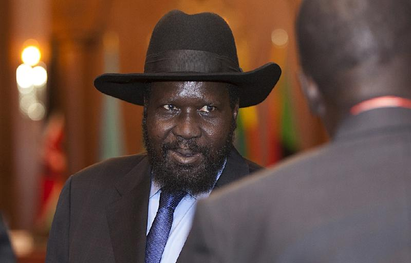 South Sudan president Salva Kiir pictured at the Intergovernmental Authority on Development (IGAD) 29th Extraordinary Summit in Addis Ababa on January 29, 2015 (AFP Photo/Zacharias Abubeker)