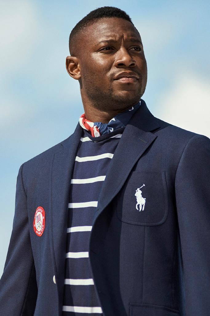 Fencer Daryl Homer in the U.S. Olympic Team's Opening Ceremony parade uniform, designed by Ralph Lauren. - Credit: Courtesy of Ralph Lauren