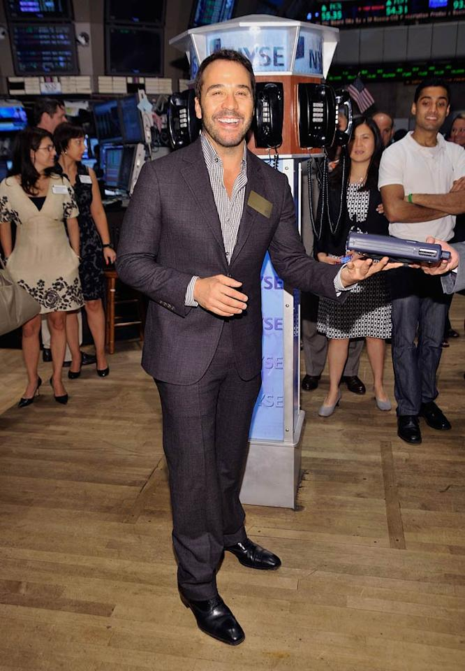 "Jeremy Piven must have borrowed a power suit from his ""Entourage"" character, Ari Gold, for his big visit to the New York Stock Exchange last Friday to ring the opening bell. Gary Gershoff/<a href=""http://www.wireimage.com"" target=""new"">WireImage.com</a> - July 22, 2011"