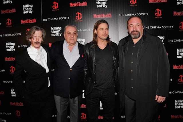 "NEW YORK, NY - NOVEMBER 26: (L-R) Ben Mendelsohn, Vincent Curatola, Brad Pitt, and James Gandolfini attend The Cinema Society with Men's Health and DeLeon hosted screening of The Weinstein Company's ""Killing Them Softly"" on November 26, 2012 in New York City. (Photo by Stephen Lovekin/Getty Images)"