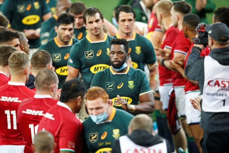 All square: Irish and British Lions players congratulate South Africa