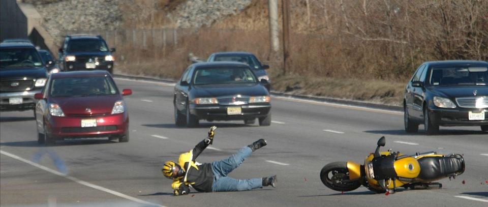 <p>Stunt driver Jalil Jay Lynch takes a spill while filming a scene on New Jersey's Route 17—right outside of the club used to film exterior scenes at the Bada Bing!</p>