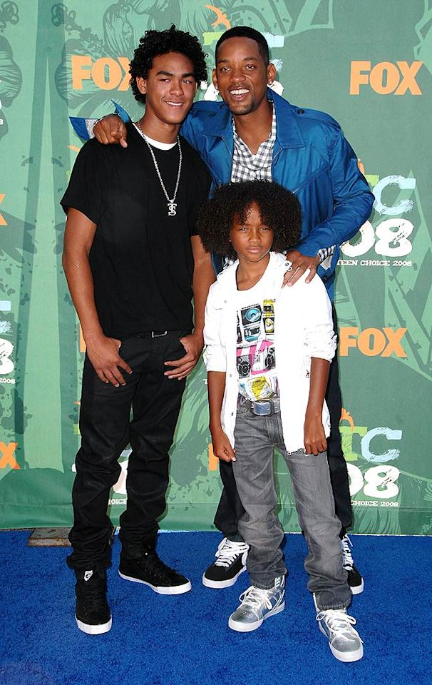 """Will Smith and sons Trey and Jaden made the event a family affair ... with questionable hair. Steve Granitz/<a href=""""http://www.wireimage.com"""" target=""""new"""">WireImage.com</a> - August 3, 2008"""